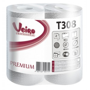 Туалетная бумага в малых рулонах Veiro Professional Premium - 2 слоя, 25 метров, T308
